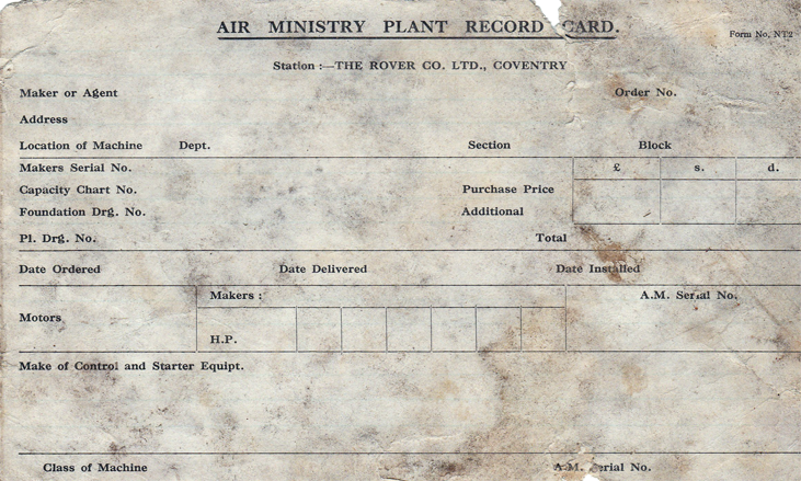 Air Ministry Plant Record Card - Found in 1993 in the Air Ministry Auditors Office in Tunnel 4.